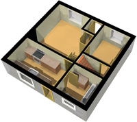 3D Floor Plan, Ground Floor, White Background