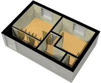 3D Floor Plan, First Floor, White Background